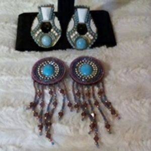 Beaded statement clip earrings